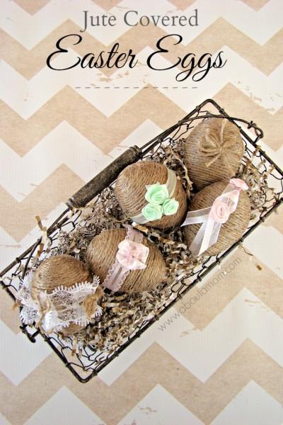 Jute Covered Easter Eggs from About A Mom