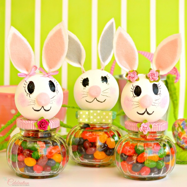 Funny Bunny Jellybean Jars! Styrofoam balls, felt, glass jars are transformed into little charmers ready to deliver an Easter treat and a smile! From littlemisscelebration.com