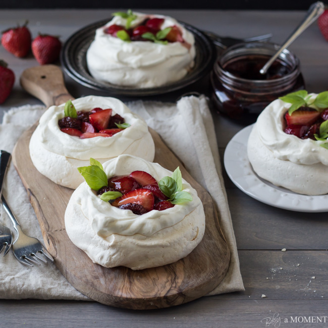 Pavlovas with Strawberries and Balsamic from Baking A Moment
