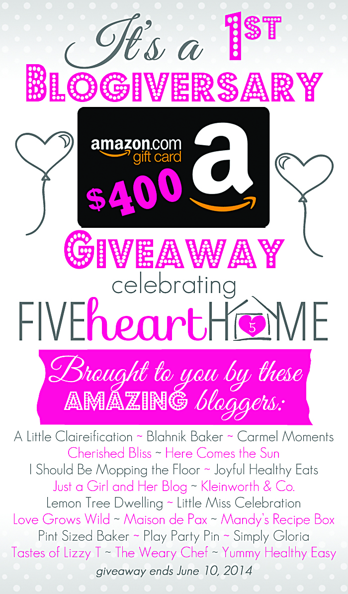 $400 Amazon Gift Card Giveaway Celebrating Five Heart Home!