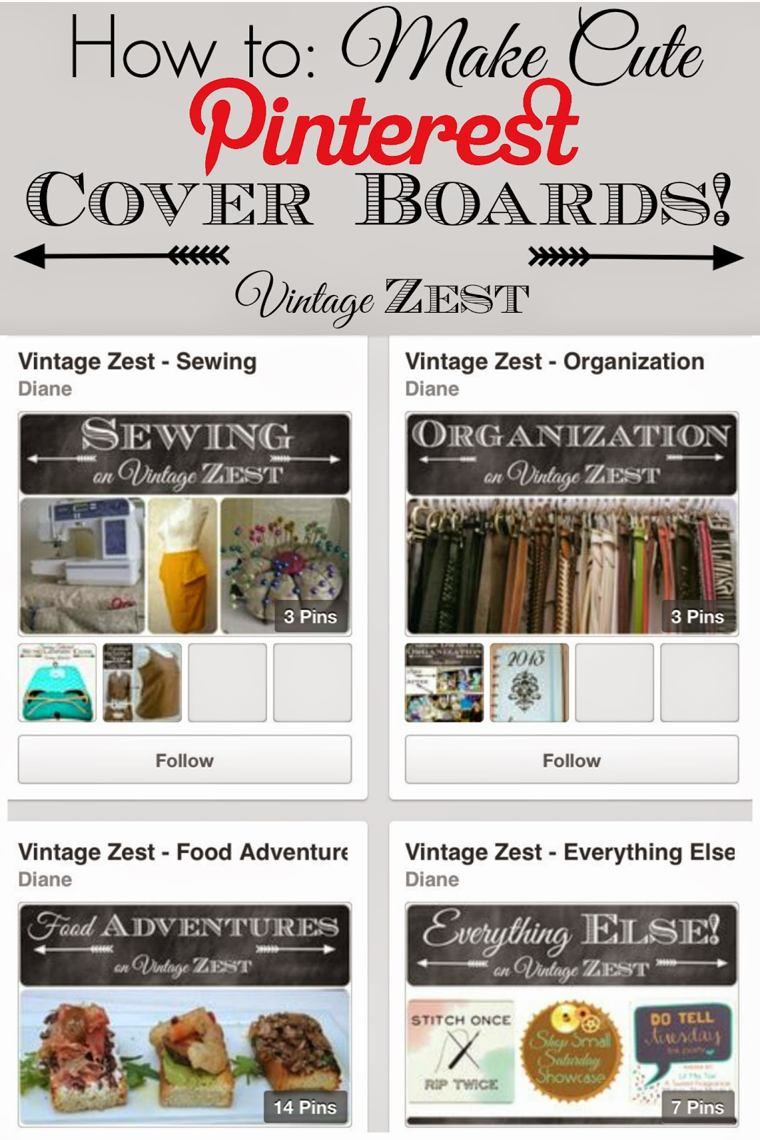 Make Cute Pinterest Board Covers by Vintage Zest