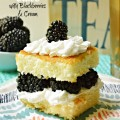 Hot Milk Cake with Blackberries & Cream - a perfect summer entertaining dessert! Easy & you don't even have to remove the cake from the pan! At littlemisscelebration.com #summer #dessert