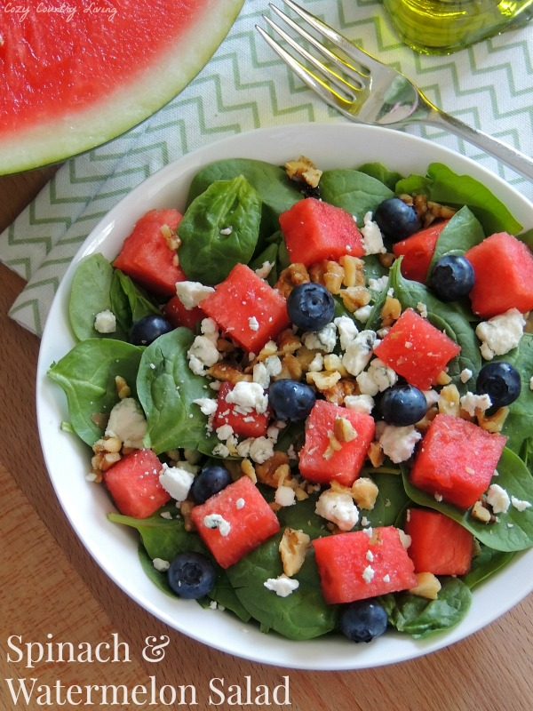 Spinach & Watermelon Salad from Cozy Country Living