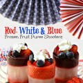 Cool down for the 4th! Red, White & Blue Frozen Fruit Puree Shooters filled with fresh fruit & a star of whipped cream! At littlemisscelebration