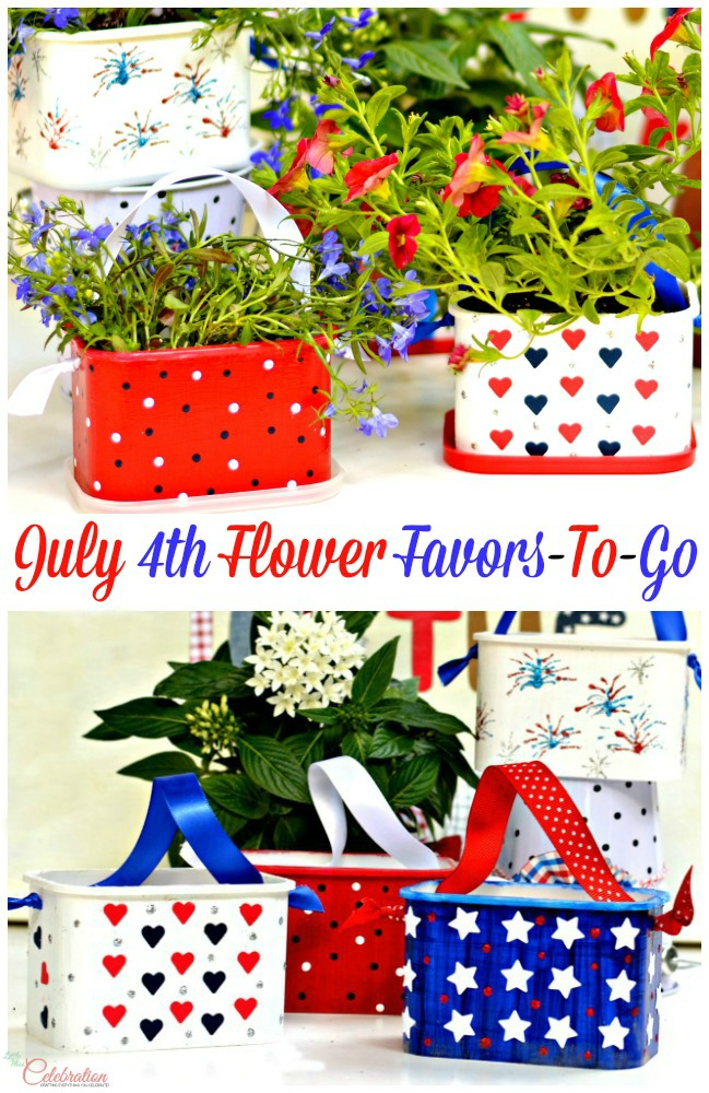 Recycle coffee containers to July 4th Flower Favors-To-Go! From littlemisscelebration.com for A Little Claireification