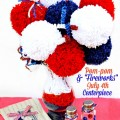 "Turn yarn, bamboo skewers and tinsel chenille stems into a big, fun Pom-pom & ""Fireworks"" July 4th centerpiece! At littlemisscelebration.com"