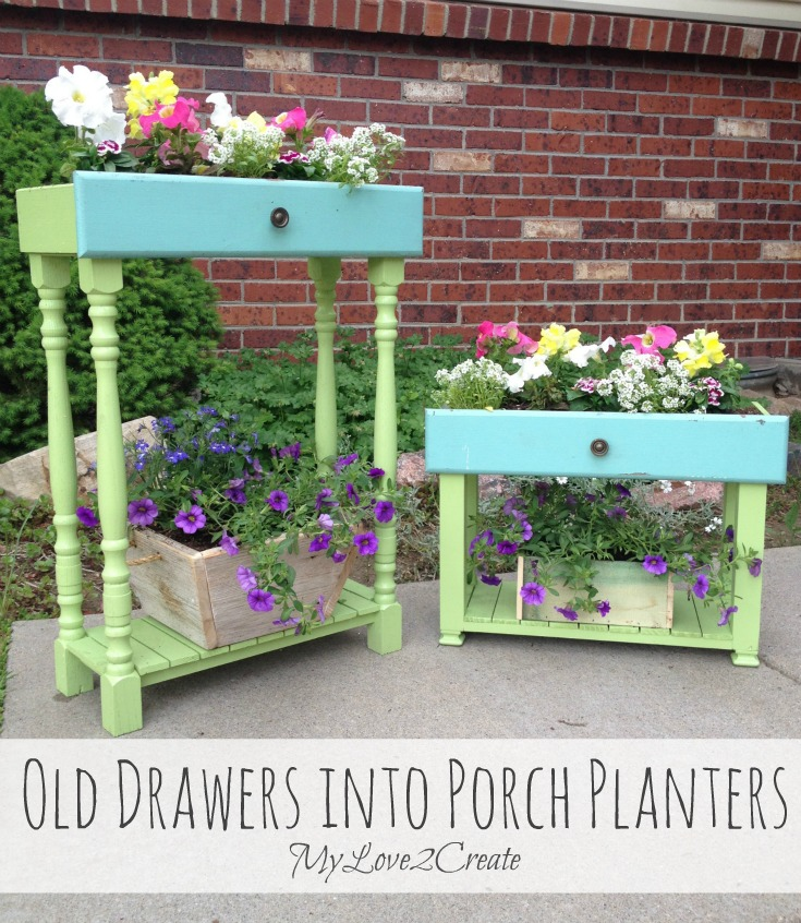 Old Drawers into Porch Planters from My Love 2 Create