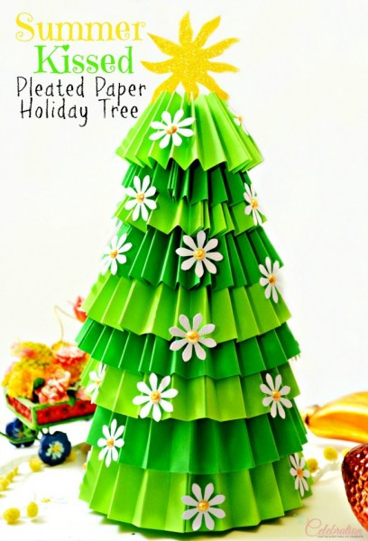 Diy Summer Kissed Pleated Paper Holiday Tree Little Miss