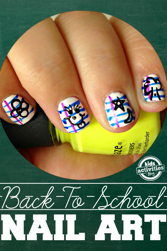 Back-to-School Notebook Paper Nail Art from Kids Activities Blog