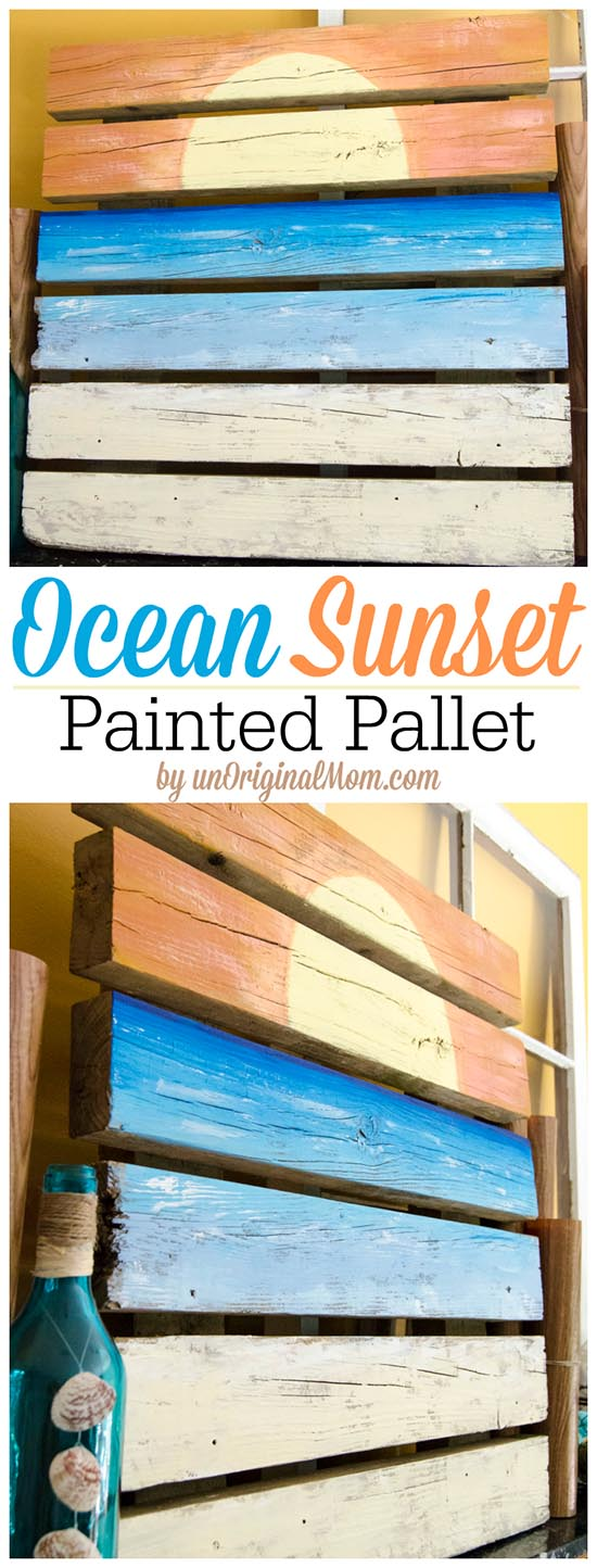 Ocean Sunset Painted Pallet Art from unOriginal Mom