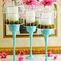 Start with Dollar Store glass candleholders to make your own easy, pretty & unique Painted Glass Birdcage Candleholders! At littlemisscelebration.com