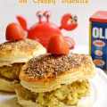 "Delicious, broiled crab cakes taste even better on Pillsbury Grands, transformed into ""crabby"" biscuits with melted butter, Old Bay & kosher salt! At littlemisscelebration.com"