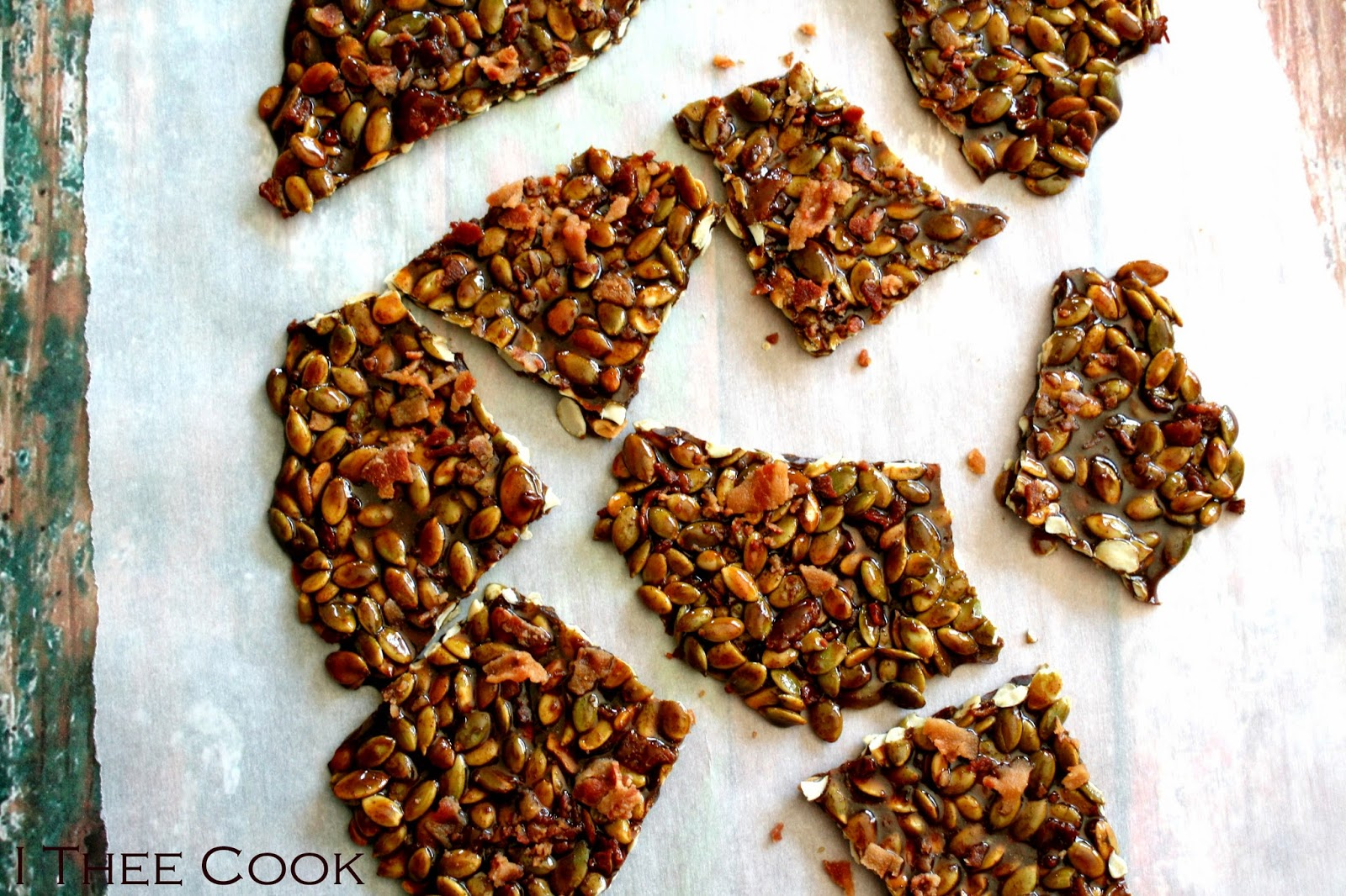 Spiced Pepita Bacon Brittle from I Thee Cook
