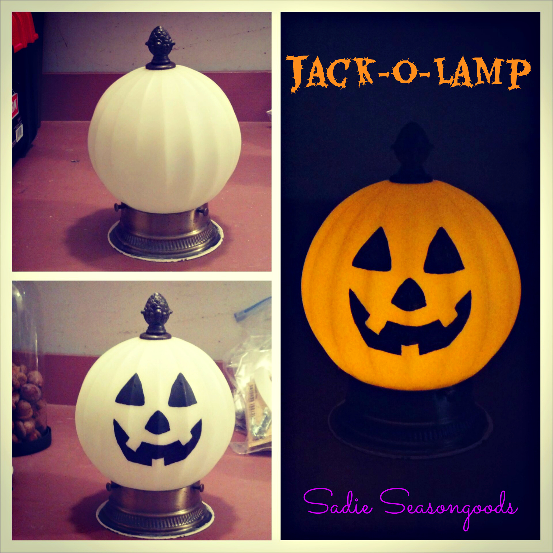 Jack-o-Lamp Salvaged Light Fixture Pumpkin from Sadie Seasongoods