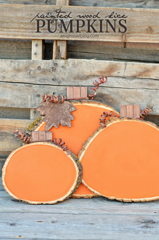 Painted Wood Slice Pumpkins from A Night Owl Blog