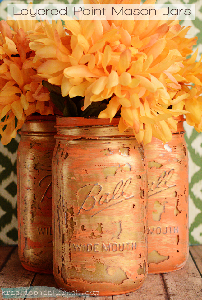 Layered Paint Mason Jars from Kristi's Paintbrush
