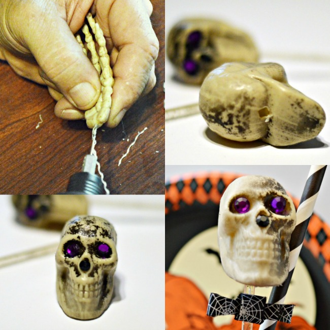 With inexpensive plastic skeleton heads & hands, create creepy Hold My Glass DIY Skeleton Partyware perfect for Halloween! At littlemisscelebration.com