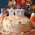 With a cake mix and some candy, create a cute Halloween Cake In A Flash! At littlemisscelebration.com