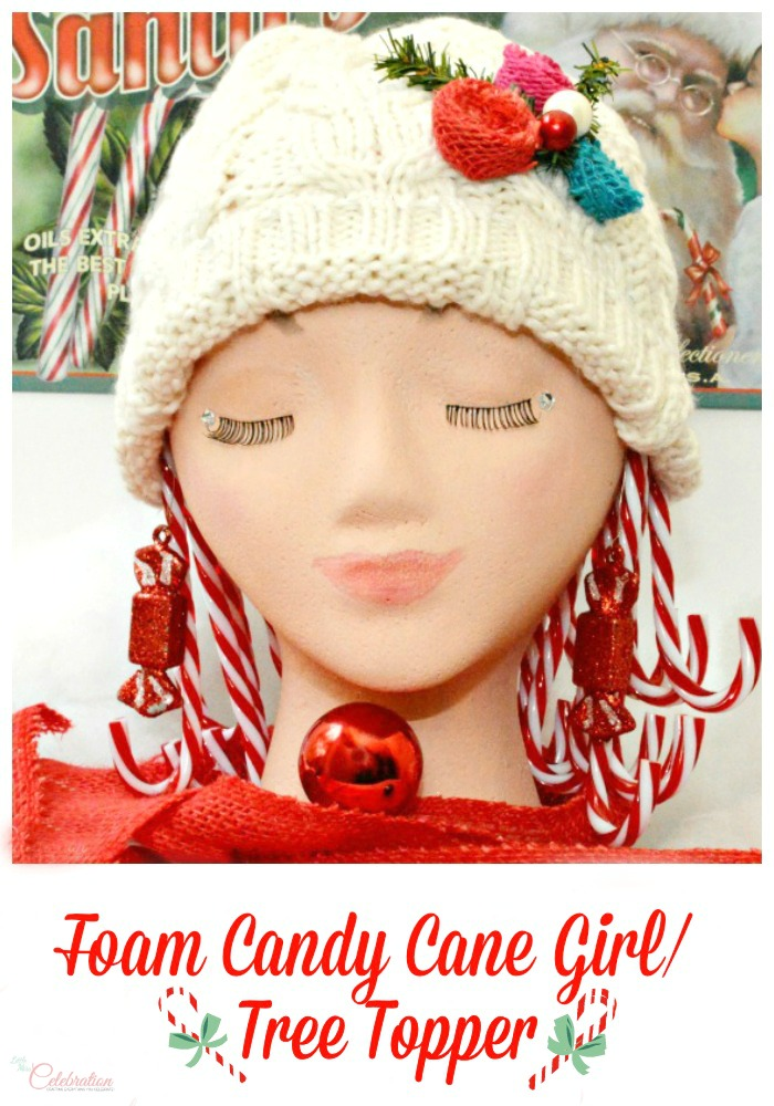 Create a magical, holiday Candy Cane Girl/Tree Topper #MakeItFunCrafts from littlemisscelebration.com