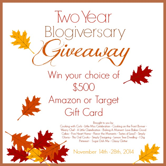Enter to win choice of a $500 Amazon or Target e-Gift Card in the Two Year Blogiversary Giveaway at littlemisscelebration.com