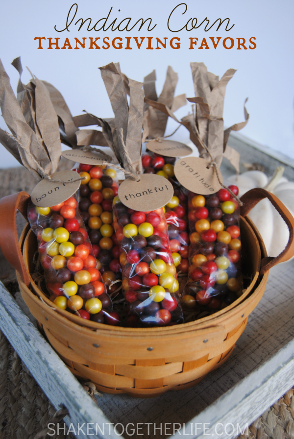 Easy Indian Corn Thanksgiving Favors from shaken together