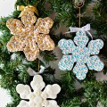 Add some holiday dazzle to Paper Mache Snowflake Ornaments! Pretty for the tree or as package toppers and can be used all winter. At littlemisscelebration.com #Christmas