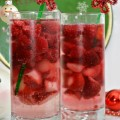 "Holiday Frozen Fruit Sparkler is an easy, festive family-friendly drink that you can put together in no time! Create some simple tinsel stem ""poinsettia"" drink stirrers for extra holiday cheer! At littlemisscelebration"