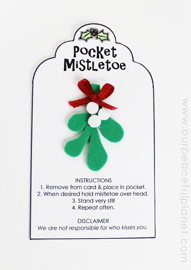 Pocket Mistletoe with Printable from Our Peaceful Planet
