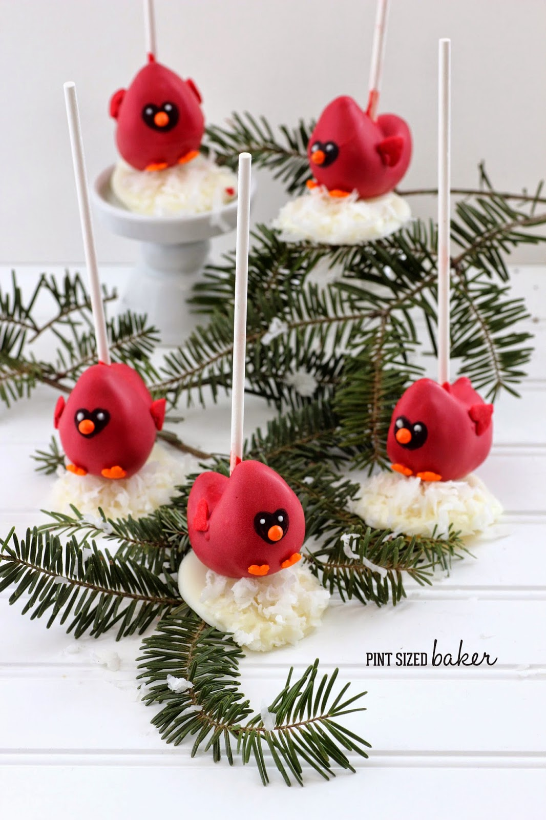 Cardinal Cake Pop Tutorial from Pint Sized Baker