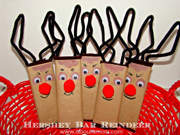 Hershey Bar Reindeer from About A Mom