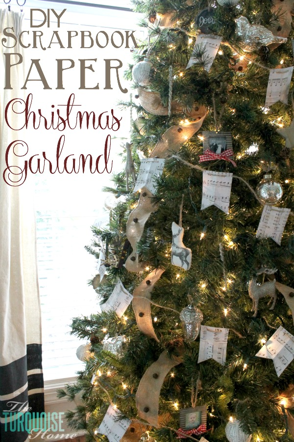 DIY Scrapbook Paper Christmas Tree Garland from The Turquoise Home