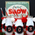 Monogrammed Holiday Milk Bottles-fun for your family or give as a gift with cookies & milk. Everything is removable, for washing & storing! at littlemisscelebration.com