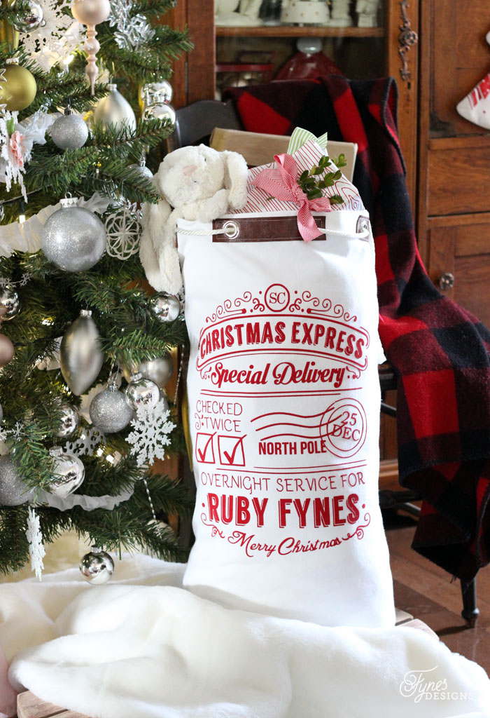Personalized Santa Sack with Silhouette Cut File from Fynes Designes