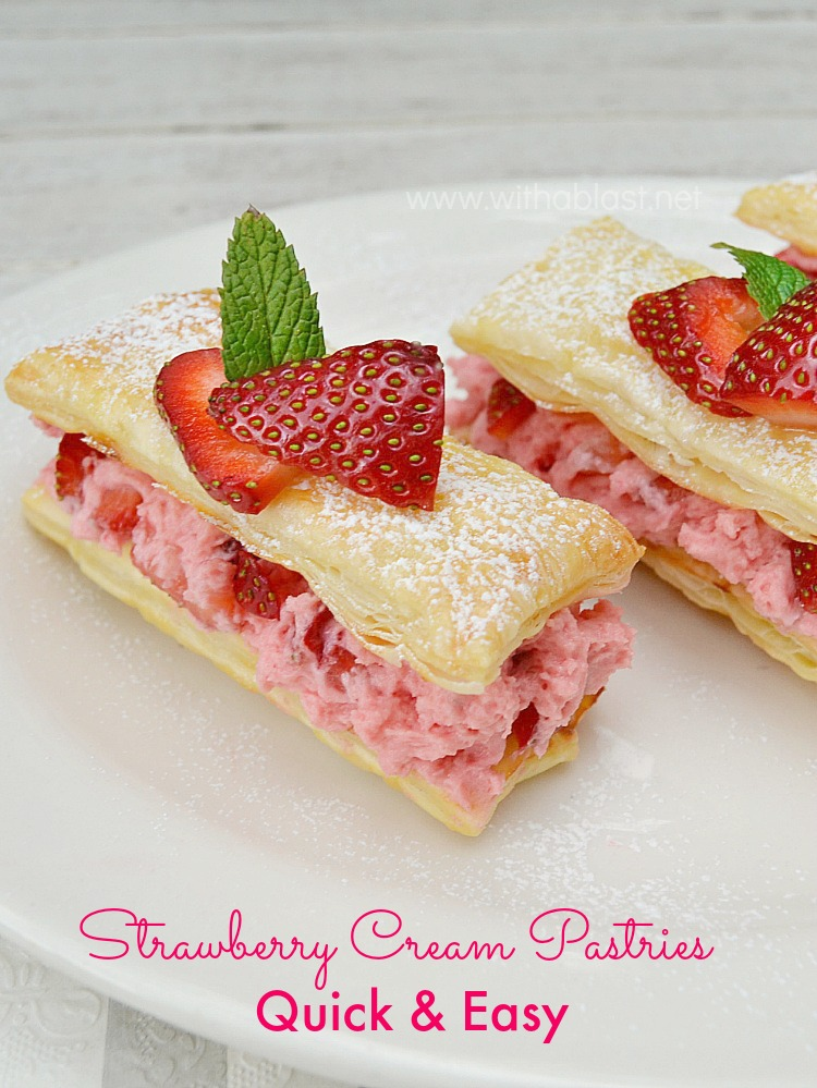 Strawberry Cream Pastries from With A Blast