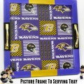 Turn an old picture frame into a fun and function serving tray with your home team spirit! Great DIY gift idea for the football lover! At littlemisscelebration.com