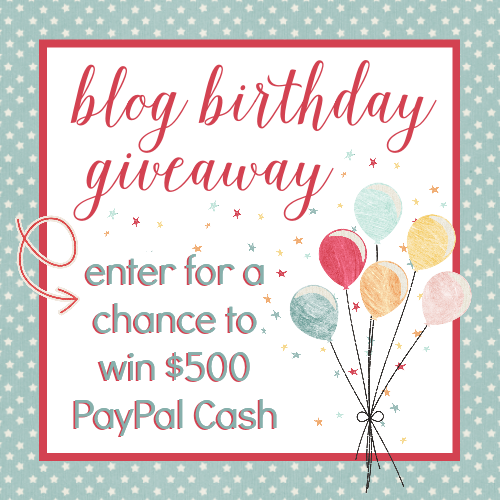 $500 PayPal Cash Blog Birthday Giveaway! at littlemisscelebration.com