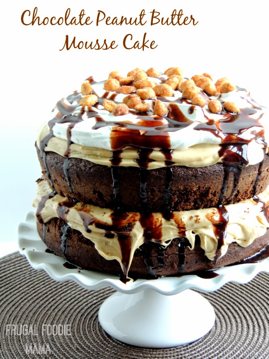 Chocolate Peanut Butter Mousse Cake from Frugal Foodie Mama