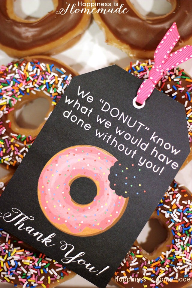 Printable Donut Thank You Tags from Happiness is Homemade