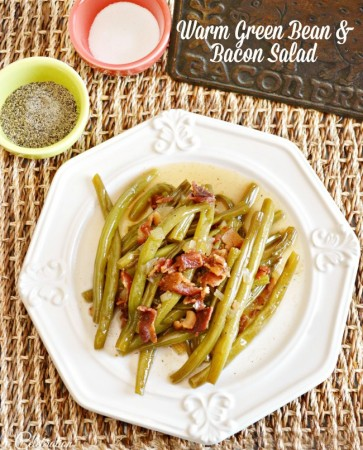 Bacon and a simple dressing turn plain green beans into flavorful Warm Green Bean & Bacon Salad that the family will love! Great cold in the summer, too! at littlemisscelebration.com