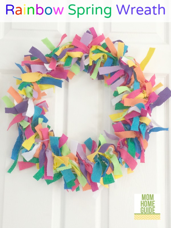 Rainbow Felt Spring Wreath from Mom Home Guide