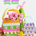 Use whatever you've got in your craft stash turn paper mache baskets into pretty Stash Buster Spring Baskets! at littlemisscelebration.com