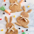 Molasses, brown sugar and whole wheat flour create delicious dough topped with cinnamon and brown sugar. These Molasses Wheat Bunny Cookies make a fun Easter treat but cut these cookies into different shapes all year long - kids love them! Recipe at littlemisscelebration.com