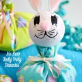 With some fabric, felt and Styrofoam balls, it's easy to create some cute roly poly bunnies for Easter! No sewing needed! From littlemisscelebration.com