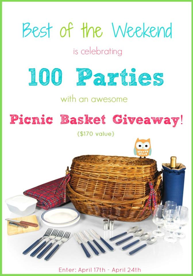 We're celebrating 100 fabulous parties featuring you with a great picnic basket giveaway! at littlemisscelebration.com