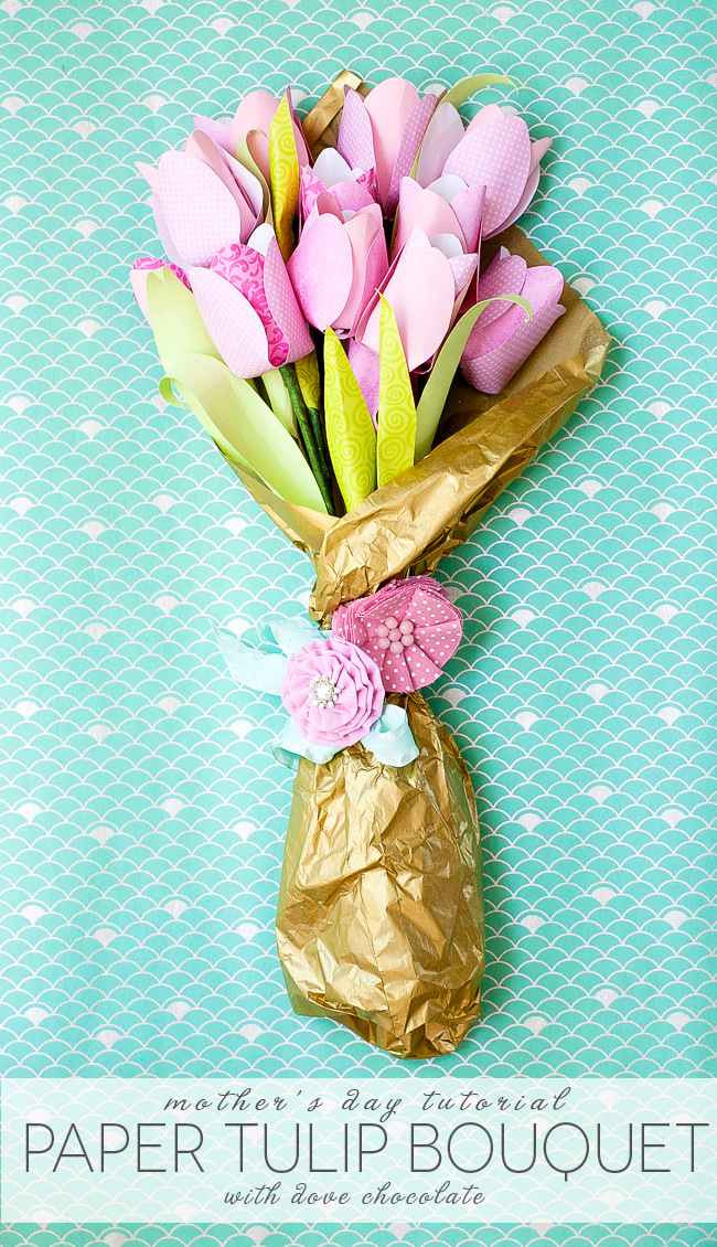 Mother's Day Cheery Chocolate Paper Tulip Bouquet from Frog Prince Paperie