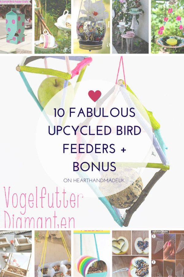 10 Fabulous Upcycled Bird Feeders from  Heart Handmade UK