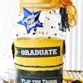 Celebrate the grad with a Mason Jar Grad Gift in their school colors! Fill with messages and $$ rolled & tied like diplomas. A fun gift! At littlemisscelebration