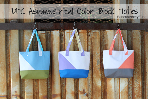 DIY Asymmetrical Color Block Totes from Haberdashery Fun