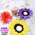 Carve FloraCraft® Make It: Fun® Foam Balls into pretty Foam Flower Tea Light Holders! Bring a glow to summer nights! #MakeItFunCrafts