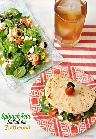 Spinach Feta Salad on Flatbread makes a delicious, make-ahead lunch that's satisfying and delicious! Portion salad & dressing, store each separately and you're lunchtime ready! At littlemisscelebration.com